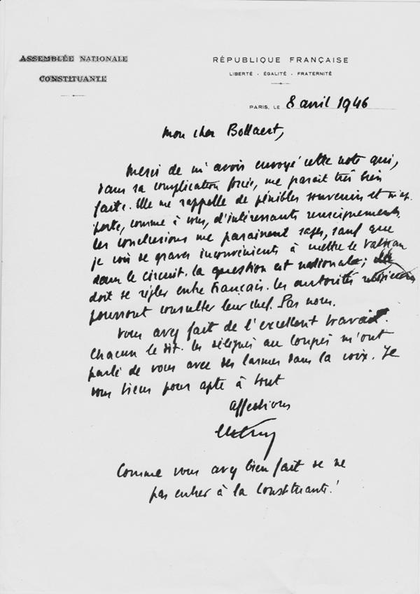 Edouard Herriot remercie Emile Bollaert pour une note sur le concordat